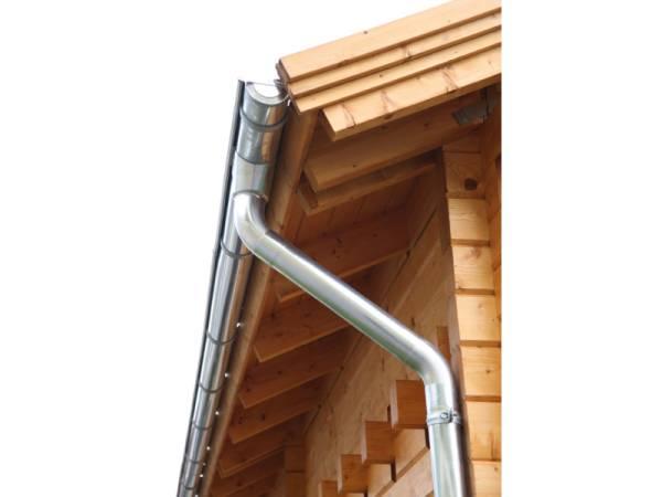 Wolff Finnhaus Alu-Rundrinne für Satteldach bis 500 cm mit 2 Fallrohren