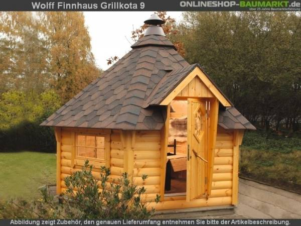 Wolff Finnhaus Grillkota Basic 9 mit Grillanlage rote Schindeln
