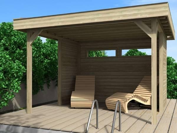 Wolff Finnhaus Flachdach Pavillon Elba Komplettset mit Wandset und 2 Fenstern 28 mm