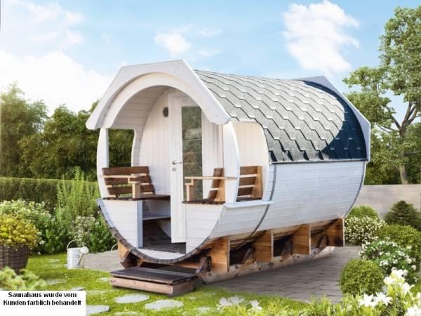 Wolff Finnhaus Saunafass Finja 1 Bausatz mit schwarzen Dachschindeln